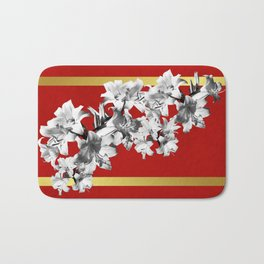 Lilies, Lily Flowers on Red Bath Mat
