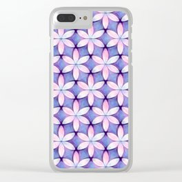 Daisies Pink Blue Clear iPhone Case