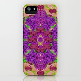 Rainbow and peacock mandala in heavy metal style iPhone Case