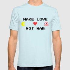 Make Love Not War Light Blue SMALL Mens Fitted Tee