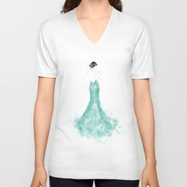 Fashion illustration mermaid dress in mint Unisex V-Neck