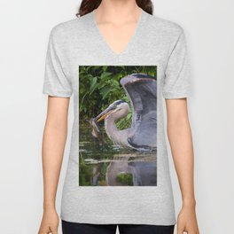 Heron and bullhead take-off Unisex V-Neck