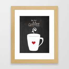 But First Coffee Black and White Red Print Kitchen Art Printable Wall Decor Print Typography Poster  Framed Art Print