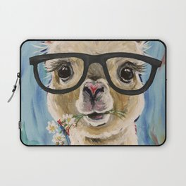 Cute Alpaca With Glasses Laptop Sleeve