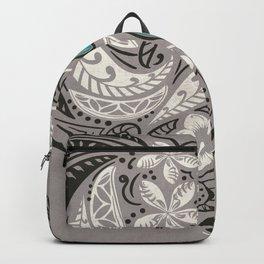 Teal Hawaiian Floral Tattoo Design Backpack