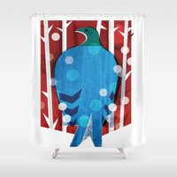 pigeon Shower Curtains featuring Pigeon by bbay