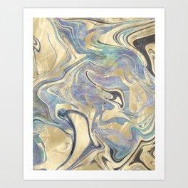 Liquid Gold Mermaid Sea Marble Art Print