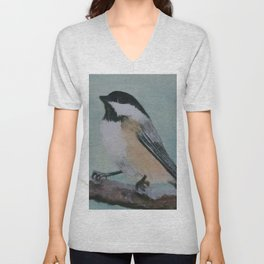 Black Capped Chickadee Unisex V-Neck