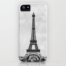 Eiffel tower, Paris France in black and white with painterly effect iPhone Case