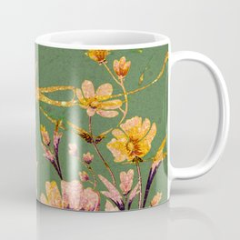 glittering pink flowers on green Coffee Mug