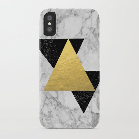 Marble Tri Black & Gold - gold foil, gold, marble, black and white, trendy, luxe, gold phone iPhone Case