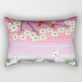 cardinals, dogwood blossoms, bunnies, & crocuses Rectangular Pillow