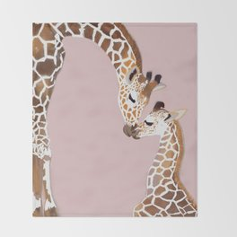 Giraffe mother and baby Throw Blanket