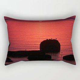 Red Dusk on the Rocks Rectangular Pillow