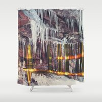 cities Shower Curtains featuring Stalactite Cities by tranquileyez