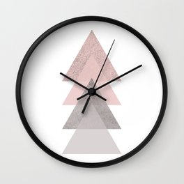 DARK BLUSH GRAY CONCRETE TRIANGLES Wall Clock