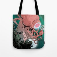 cthulhu Tote Bags featuring cthulhu by Nahum Ziersch