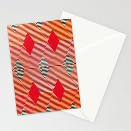 Mid-Century Diamond Warp Print, Coral Orange Stationery Cards