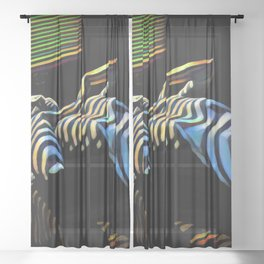 2238s-AK_5488 Nude Woman Striped by Window Blinds Rendered Composition Style Sheer Curtain