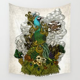 Floral Peacock Wall Tapestry