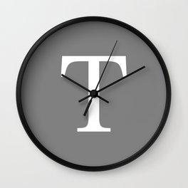 Darker Gray Basic Monogram T Wall Clock
