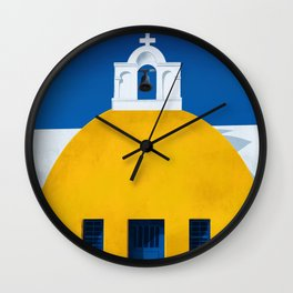 Mellow Yellow Chapel - Santorini, Greece - Minimal Travel Painting Wall Clock