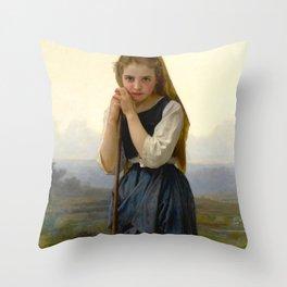 "William-Adolphe Bouguereau ""Petite bergère (The Little Shepherdess)"" Throw Pillow"