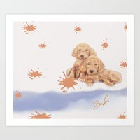 puppies Art Prints featuring Puppies by Nancy Smith