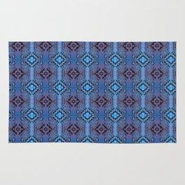 Blue Southwestern Style Doodle Pattern Rug