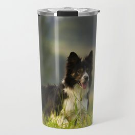 Border Collie In A Field Travel Mug