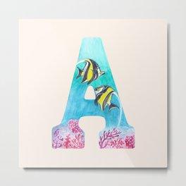 Illustrative Letter A for Angelfish Metal Print