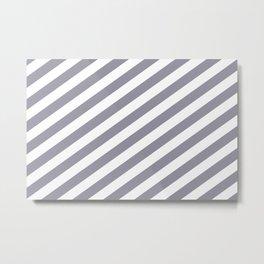 Pantone Lilac Gray & White Stripes Fat Angled Lines - Stripe Pattern Metal Print