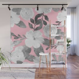Black & White Hand Paint Floral Girly Pink Design Wall Mural
