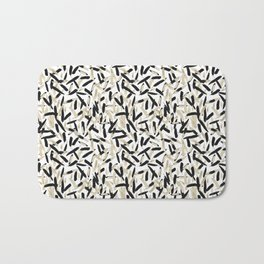Black and White Feather Repeating Pattern Bath Mat