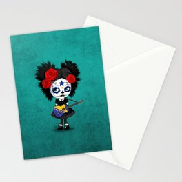 Day of the Dead Girl Playing Bosnian Flag Guitar Stationery Cards