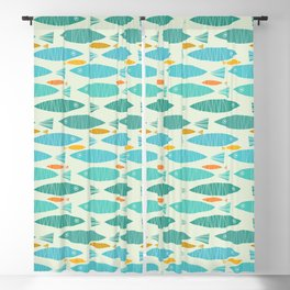 Shimmering Scandinavian Fish In Blue And Gold Pattern Blackout Curtain