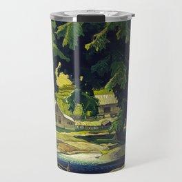 Farm Haliburton oil on hardboard 1940 Franklin Carmichael Canadian artist Art Nouveau Post-Impressio Travel Mug