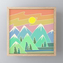 Mountain Scene | Digital Drawing | Mountains Sunset | Mountain Range Framed Mini Art Print