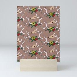 Country Deer Antlers Flowers Skull Pattern Mini Art Print