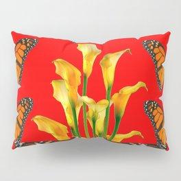 MONARCH BUTTERFLIES & GOLDEN CALLA LILIES RED ART Pillow Sham