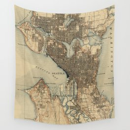 Vintage Map of Seattle Washington (1908) 2 Wall Tapestry