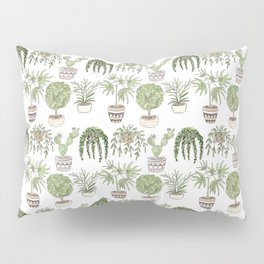 Watercolor cartoon sketch house plants in pots Pillow Sham