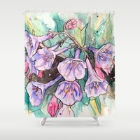 virginia Shower Curtains featuring virginia bluebells by Beth Jorgensen