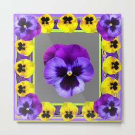 DECO PURPLE & YELLOW  PANSIES ON  GREY COLOR Metal Print