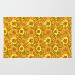 Pushing daisies orange with green base Rug