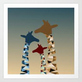 Abstract Colored Giraffe Family Art Print