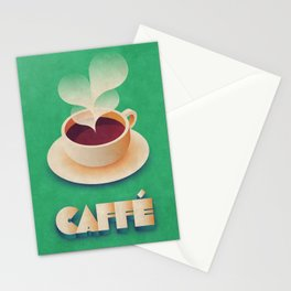 Art Deco Vintage Retro Coffee - Green Stationery Cards