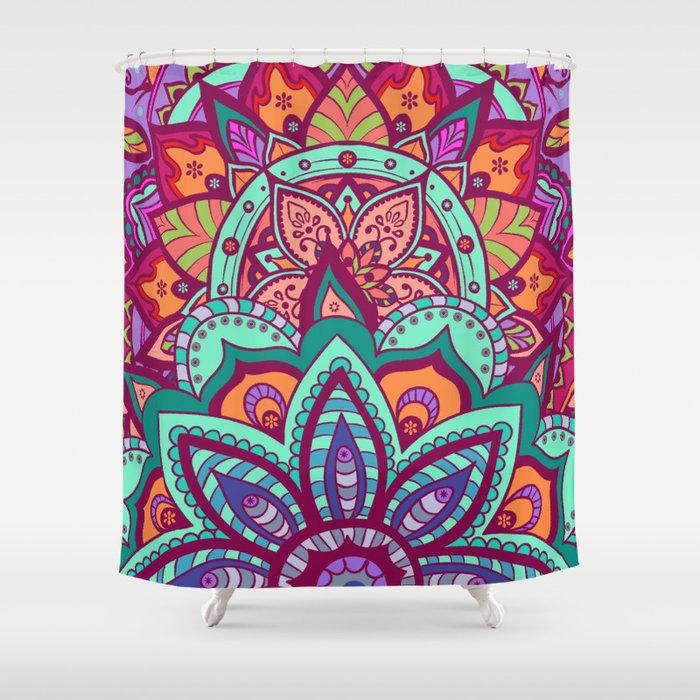 Bohemian Carnival Floral Mandala Shower Curtain