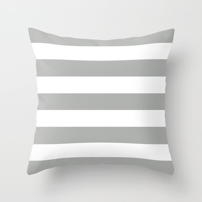 Silver foil - solid color - white stripes pattern Throw Pillow