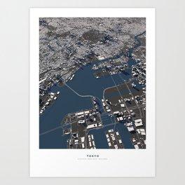 Tokyo II city map Art Print